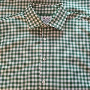 T.M. Lewis Two-Fold Cotton Check Shirt French Cuff